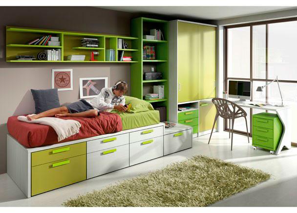 Dormitorio juvenil con torre block de 7 contenedores, librería y armario de puertas correderas, escritorio con módulo de 3 cajones con ruedas y esta