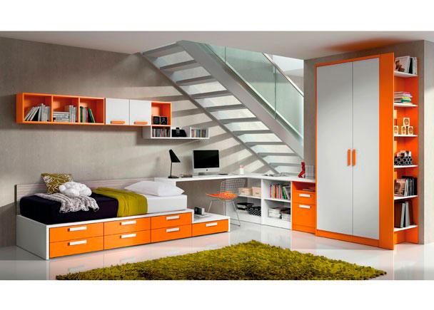 Dormitorio juvenil con una distribución original y abierta en un espacio diáfano