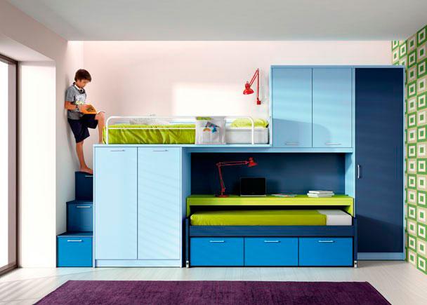 Habitación infantil con cama compacto de 3 contenedores, escritorio corredero de 202x60, escalera de 3 contenedores de 42 cmts., módulo