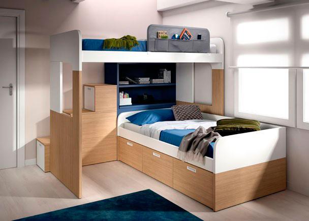 Habitación infantil litera con arcón, librería y escalera. Compacto con 3 contenedores.