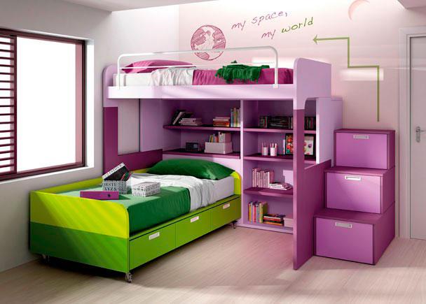 Habitación infantil con litera century superior de 104x174x202, módulo de estanterías con arcón izquierdo de 202x139x42.6,
