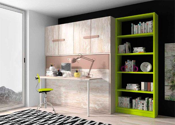 Habitaci n juvenil con litera abatible con escritorio y - Habitacion juvenil cama abatible ...