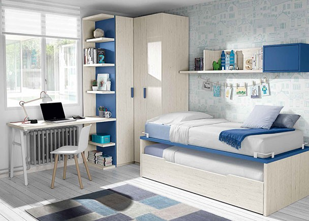 Habitaci n juvenil con compacto bicama armario rinc n y for Escritorio habitacion juvenil