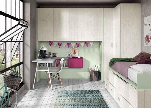 Habitaci n juvenil con dos camas armario rinc n y for Habitacion juvenil dos camas