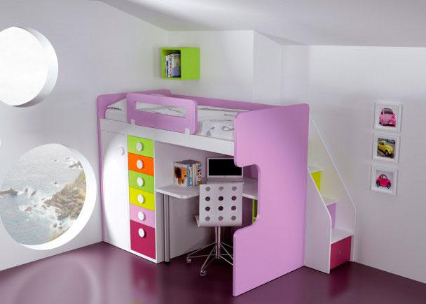 Habitación infantil pensada especialmente, para esos casos en los que nuestro problema es el poco espacio de que disponemos.En solo un rectángulo de