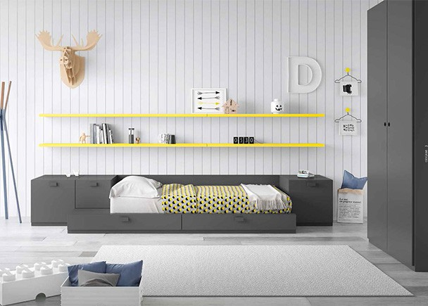 Dormitorio juvenil con cama modular y armario elmenut for Cama modular infantil