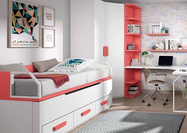 Dormitorio infantil con 2 camas armario rinc n y for Dormitorios modernos precios