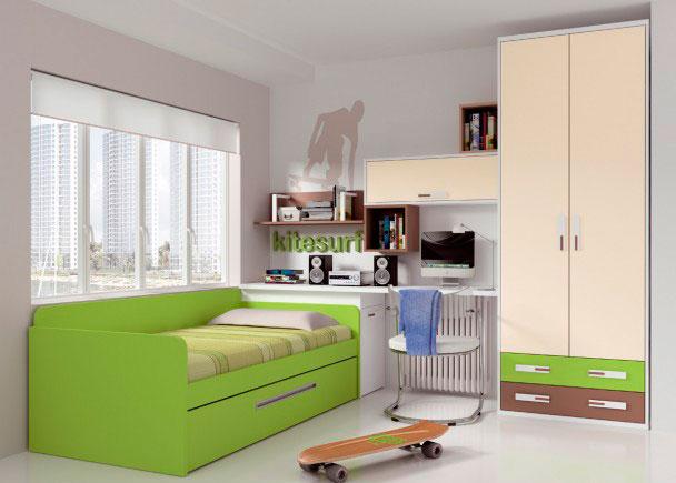 Dormitorio juvenil decorado con llamativos colores. Dispone de un armario de 90 cm de ancho, con 2 puertas y 2 cajones vistos en dos tonos de acabado