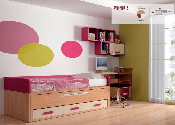 Dormitorio juvenil de línea marcadamente minimalista. Se ha equipado únicamente con un compacto de 2 camas con base de tablero y cajoner