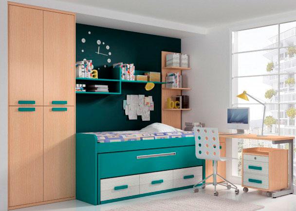 Luminoso dormitorio juvenil equipado con un mueble compacto de 2 camas en llamativo color turquesa. Este modelo ha sido diseñado para alo