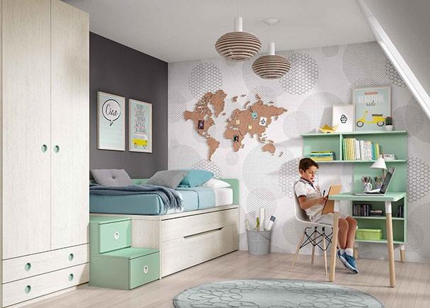Compacto con dos camas de 90 x 190 con tapa abatible elmenut - Cama compacta infantil ...