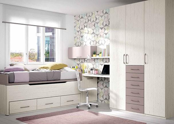 Habitaci n infantil con compacto de dos camas de 190 elmenut for Habitacion juvenil completa