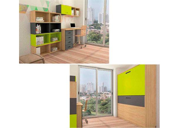 Habitaci n infantil con literas abatibles y zona estudio - Habitacion con literas ...