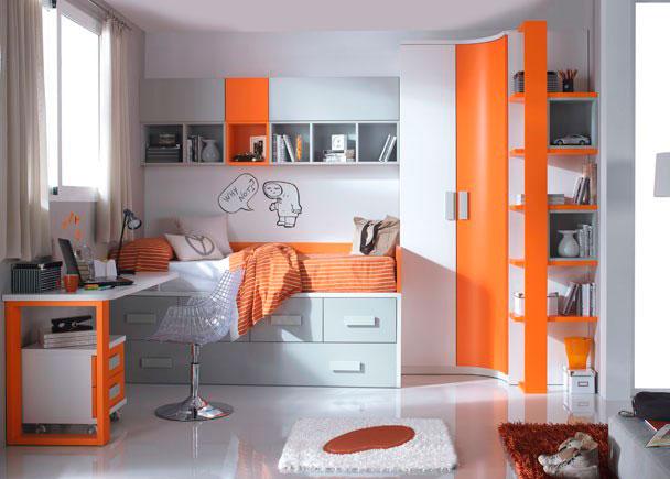 Moderna habitación Infantil dotada de armario curvo de dos puertas y terminal de 5 estantes.Mesa de estudio con encimera recta y soporte de dob