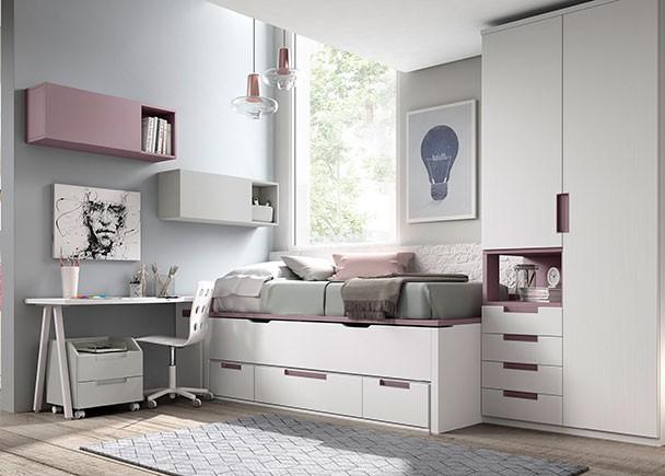 Habitación juvenil equipada  con un compacto con nido oculto para colchón de 190 x 90 debajo de la cual disponemos de espacio de almacenamiento;  2