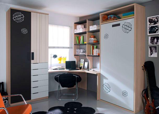 Habitación infantil con armario de 2 puertas con 6 cajones vistos.Por las características del dormitorio, se ha optado para la zon