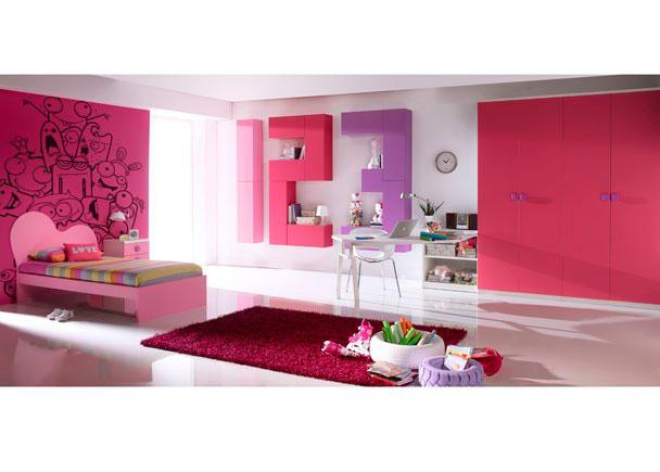 Dormitorio infantil con espaciosa armariada compuesta por dos armarios de 2 puertas.La zona de descanso la compone una cama modelo NUBE de 90 x