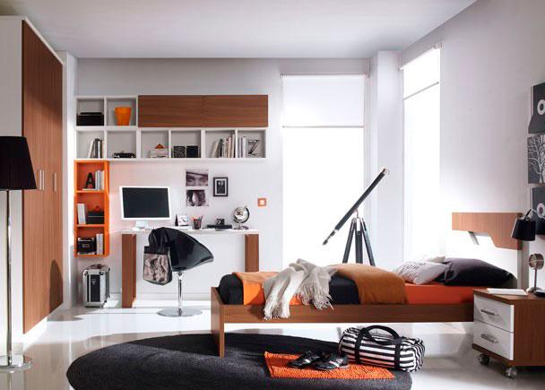 Habitación juvenil con armario recto de 150 con 3 puertas.Zona de estudio realizada con encimera recta de 135, apoyada sobre dos ies doble de t