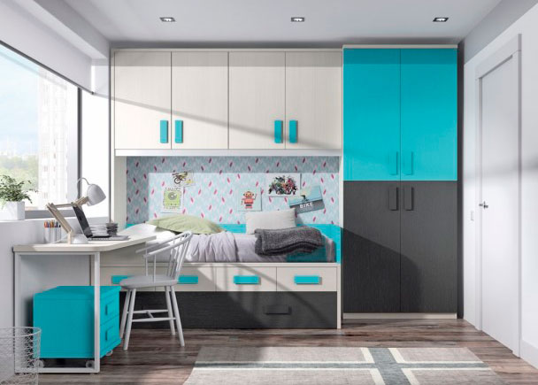Habitaci n infantil con armario cama nido y escritorio for Cama puente con escritorio