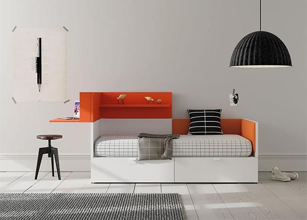 Dormitorio juvenil con cama modular y secreter con for Cama juvenil con escritorio