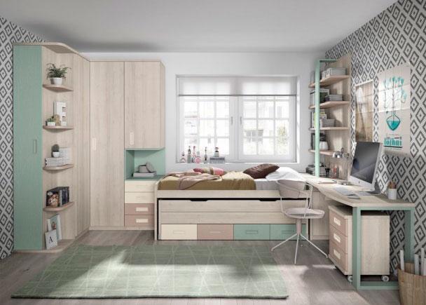 Habitaci n juvenil con armario rinc n escritorio y dos for Habitacion juvenil dos camas