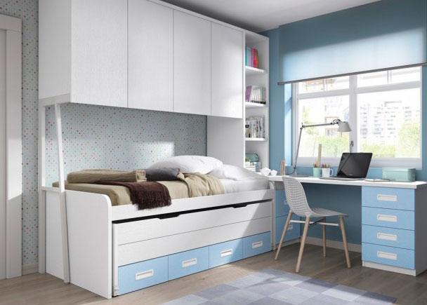 Dormitorio con 2 camas altillo puente y zona estudio elmenut for Cama puente con escritorio