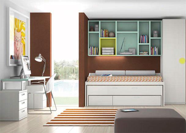 Moderna habitación juvenil con armario terminal derecho de 226,4 de altura.La zona de descanso la forma un compacto de dos camas (la supe