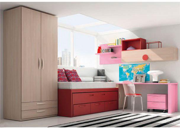 Dormitorio infantil con armario de 102 cm de ancho, con 2 puertas y dos cajones vistos.La zona de descanso la compone un mueble compacto de dos camas,