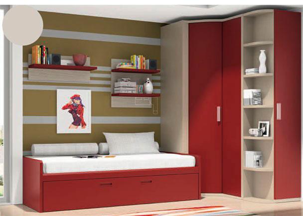 Juvenil con armario rinc n de puerta convexa elmenut for Dormitorios juveniles con armario esquinero