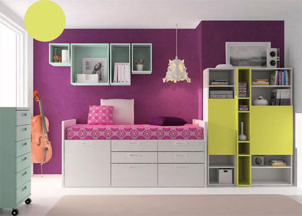 Habitaci n infantil con cama compacta alta elmenut for Cama infantil compacta