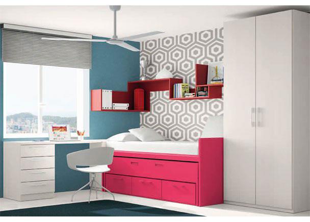 Habitación juvenil con armario de 2 puertas de 102 cm de ancho.Junto al armario, se encuentra la zona de descanso, compuesta por un compa