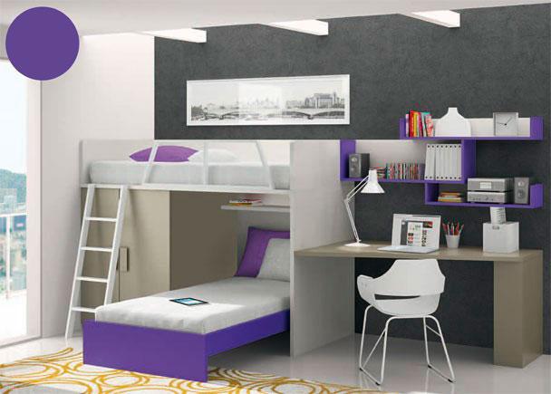 Habitación infantil amueblada con camas tipo block. La estructura del block sobre el que se sujeta la cama superior, se compone de un ar