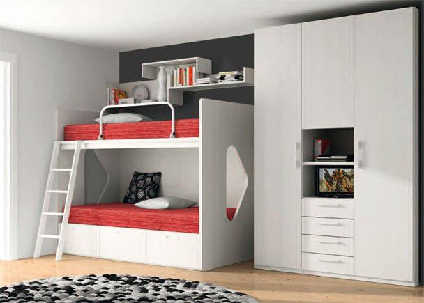 Dormitorio litera 2 camas y base 3 cajones elmenut - Escalera cajones para litera ...