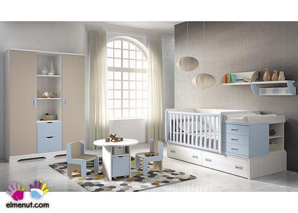Habitaci n de beb con cuna convertible y armario mixto - Habitaciones de bebe convertibles ...