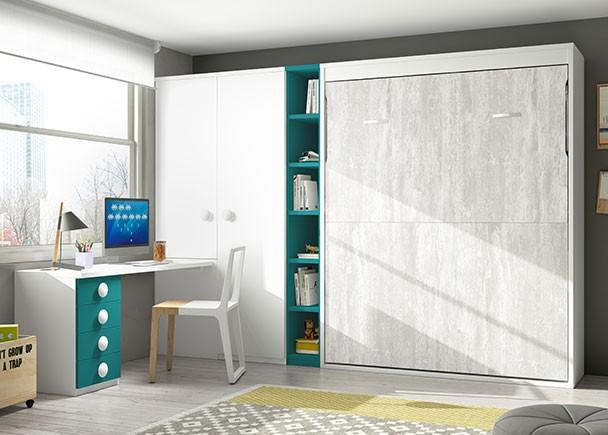 Juvenil con abatible de 135 armario y zona de estudio for Dormitorios juveniles precios