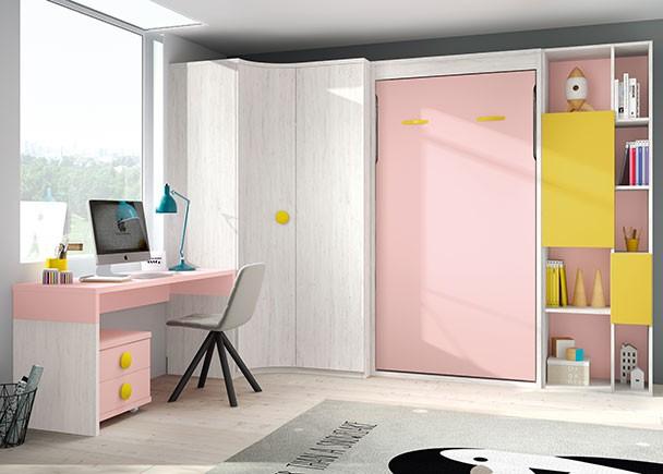 Dormitorio infantil abatible vertical sin altillo para colchón de 90 x 190. El ambiente cuenta además con una zona de estudio, armariada en rincón