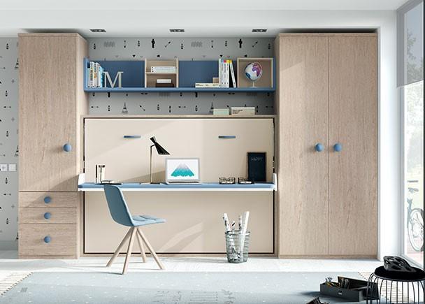 Cama abatible de 135 con escritorio plegable y armarios - Habitaciones infantiles merkamueble ...