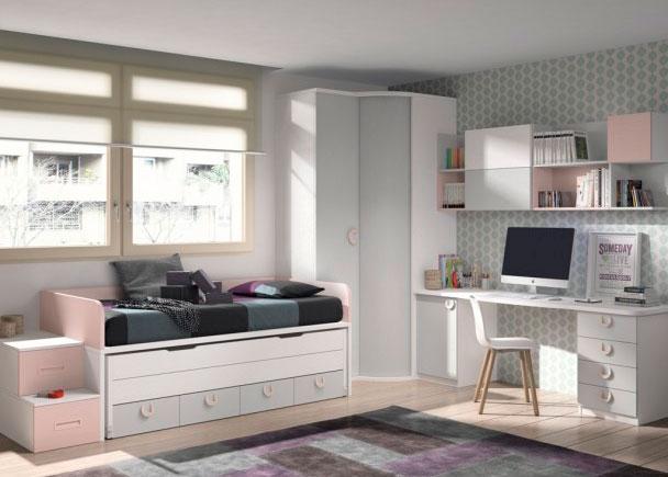 dormitorio infantil con 2 camas y armario en chafl n elmenut