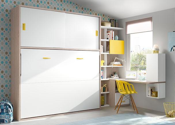 Cama abatible de 135 con armario y zona estudio elmenut for Mueble que se convierte en cama