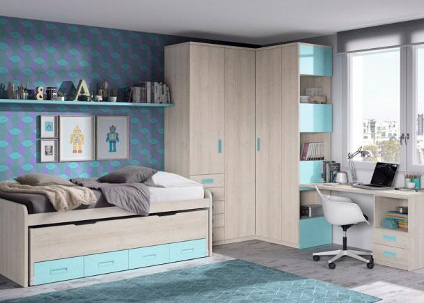 Habitaci n infantil con 2 camas y armariada angular elmenut - Habitacion 2 camas ...