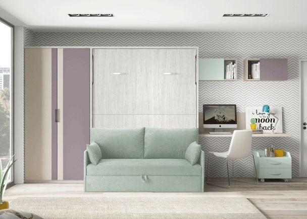 Habitaci n juvenil con cama abatible con sof y armario - Habitacion juvenil cama abatible ...