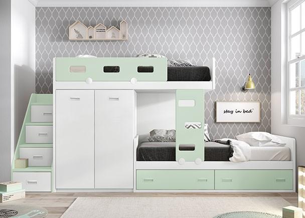 Dormitorio infantil equipado con dos literas tren con armario block de 2 puertas y bajo nido de dos cajones.