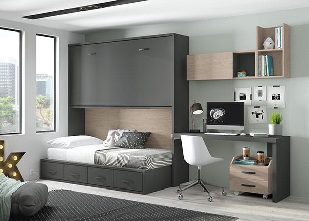 Cama abatible horizontal alta con compacto bajo de 4 for Dormitorio juvenil cama alta