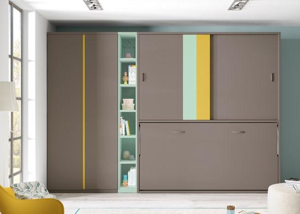Juvenil con cama abatible horizontal para colchón de 90 x 190 y armario superior de puertas correderas, armario de puertas largas y librería a tono