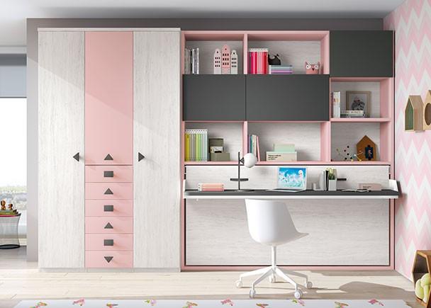 Armario Nancy ~ Dormitorio juvenil con abatible, armario y escritorio Elmenut