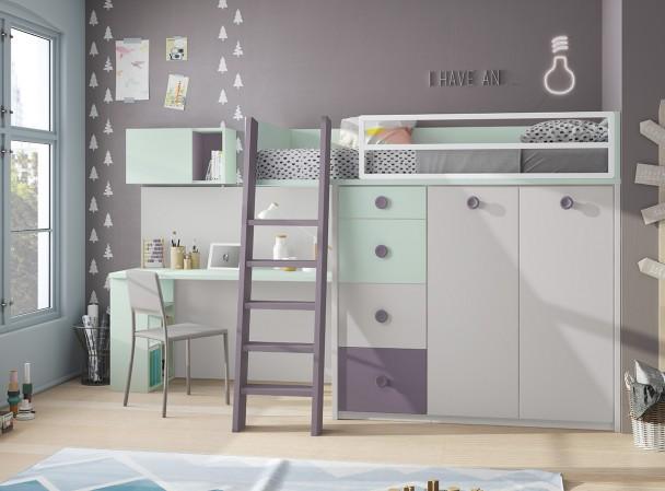 Dormitorio infantil con literas librer a y armario elmenut for Cama sobre armario