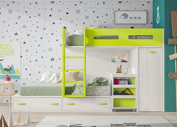 Habitaci n infantil con literas escritorio y armario elmenut for Armario habitacion infantil