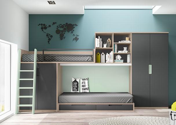 Habitaci n infantil con literas tipo tren y dos armarios - Armario bajo cama ...