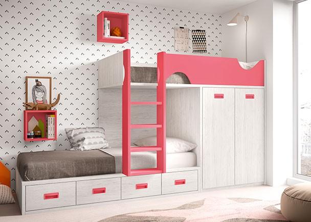 Dormitorio infantil con literas tipo tren elmenut - Dormitorio infantil literas ...