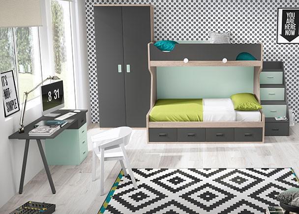 Habitación infantil con litera de dos camas base de 4 cajones. El acceso a la cama superior se facilita gracias a una escalera de 4 peldaños, La bar